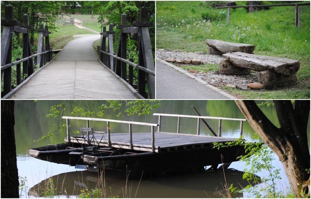 Pod peste pârâul Dumbrava, două băncuțe din lemn, bac