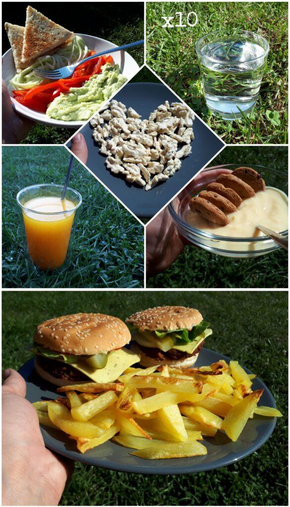 apă caldă cu suc de lămâie, pudră de ghimbir și turmeric toast cu pastă de avocado, ardei gras și paste din dovlecei nuci verzi budincă din soia cu vanilie și cookies burgeri din fasole roșie, ketchup și muștar, cașcaval din migdale cu verdețuri, castraveți murați, ceapă, roșii, salată; cartofi pai făcuți la cuptor